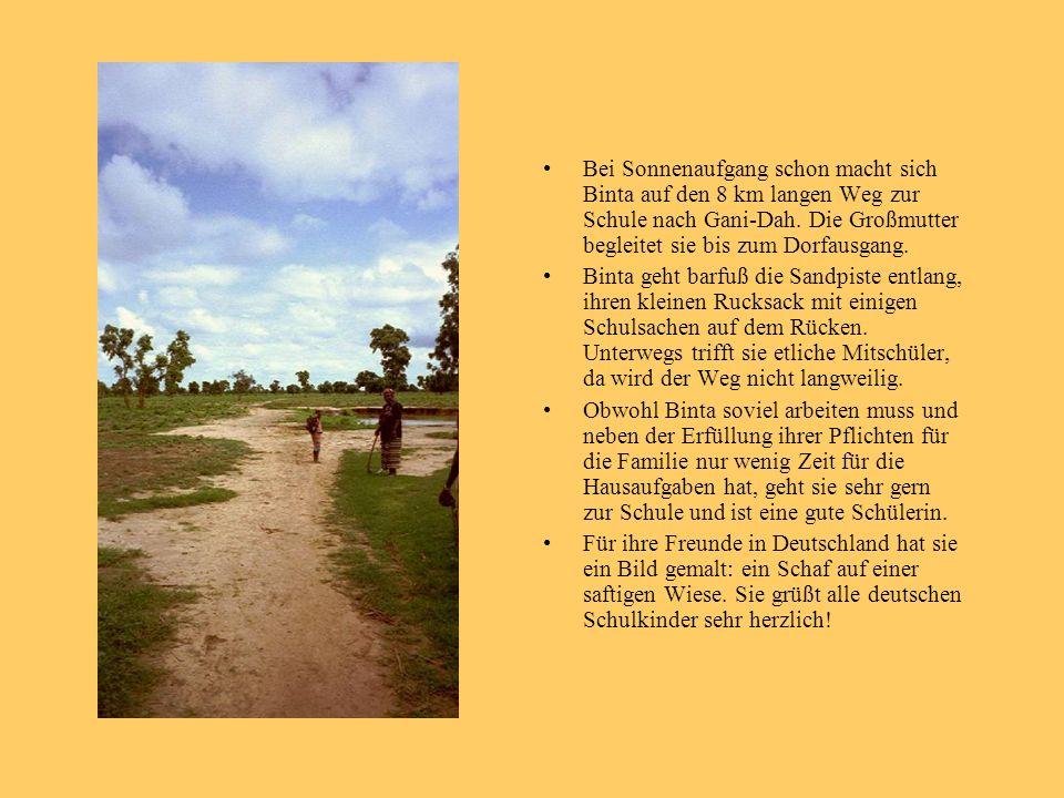 Bei Sonnenaufgang schon macht sich Binta auf den 8 km langen Weg zur Schule nach Gani-Dah. Die Großmutter begleitet sie bis zum Dorfausgang.