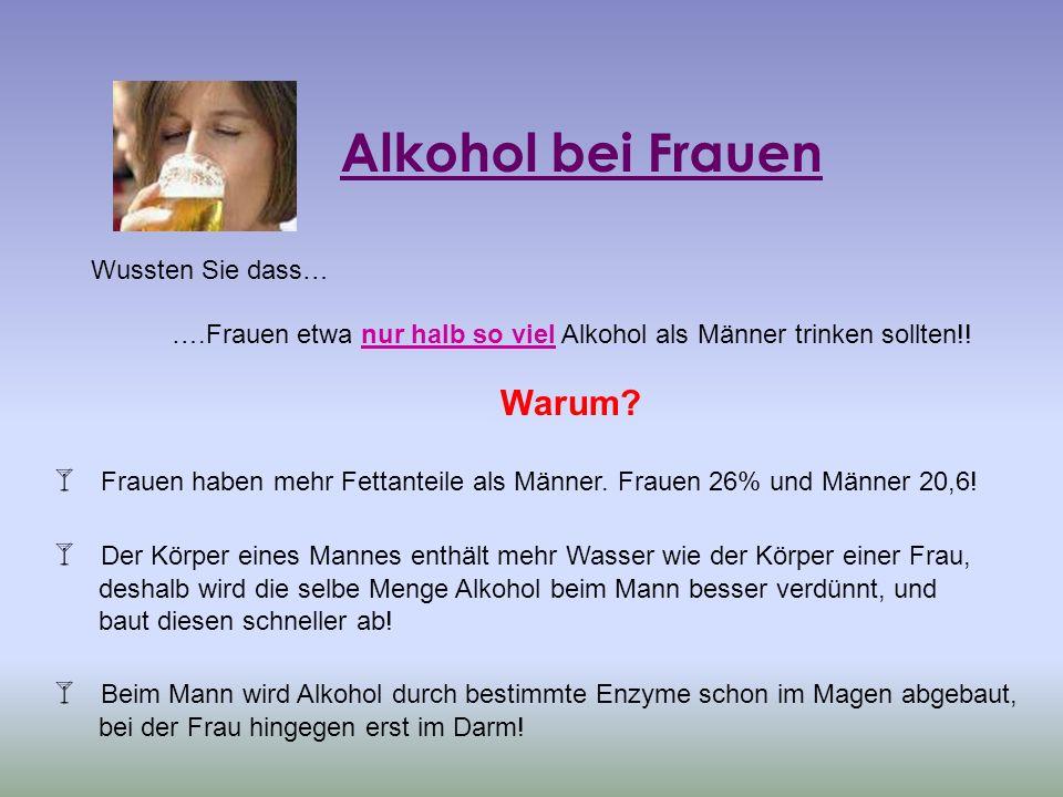 ….Frauen etwa nur halb so viel Alkohol als Männer trinken sollten!!
