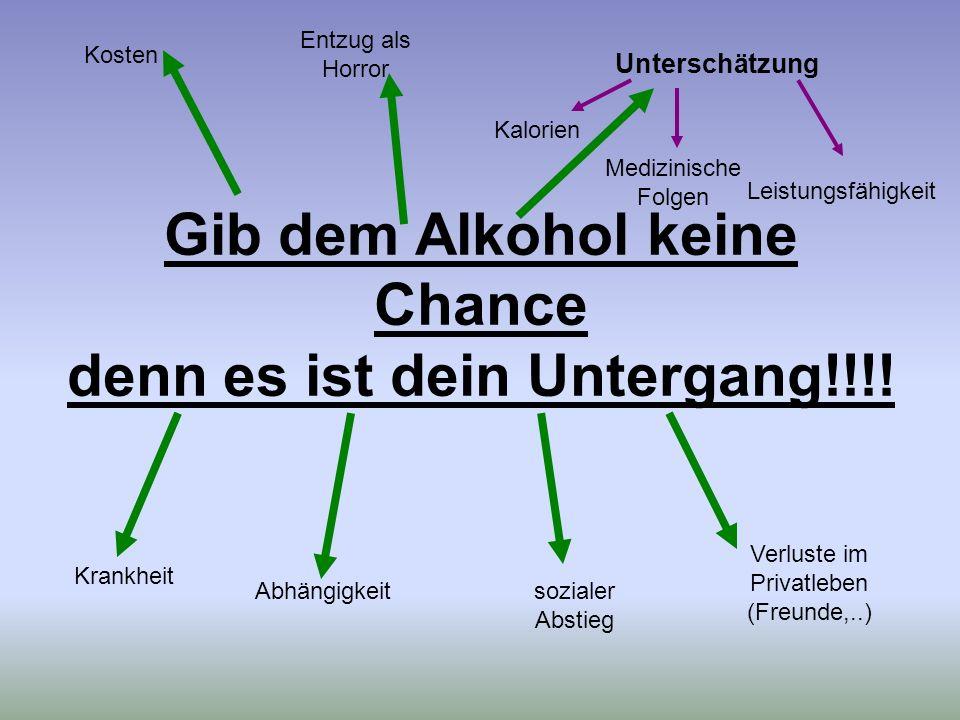 Gib dem Alkohol keine Chance denn es ist dein Untergang!!!!