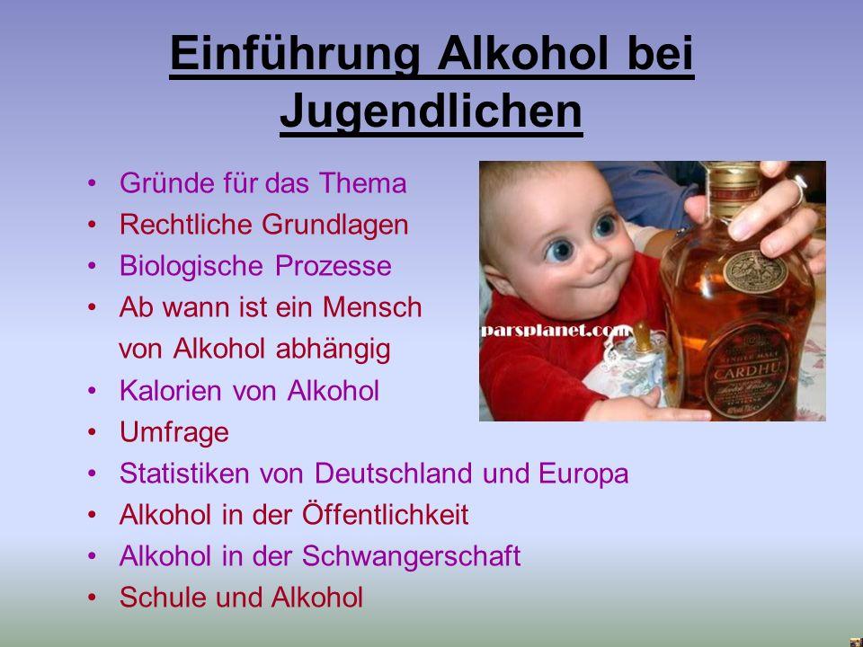 Einführung Alkohol bei Jugendlichen