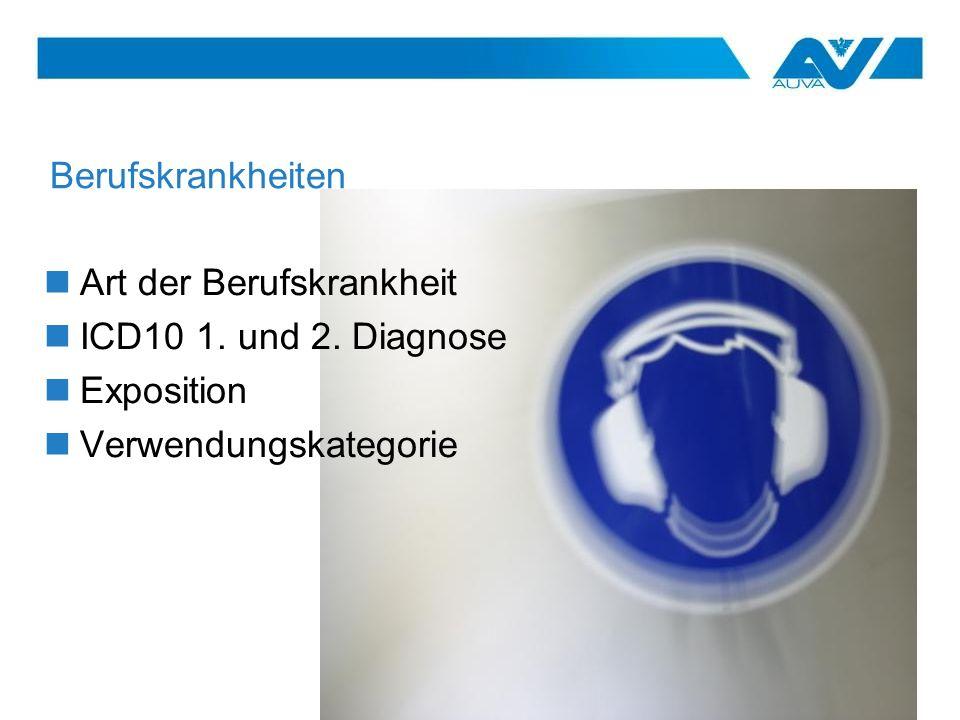 Berufskrankheiten Art der Berufskrankheit ICD10 1. und 2. Diagnose Exposition Verwendungskategorie