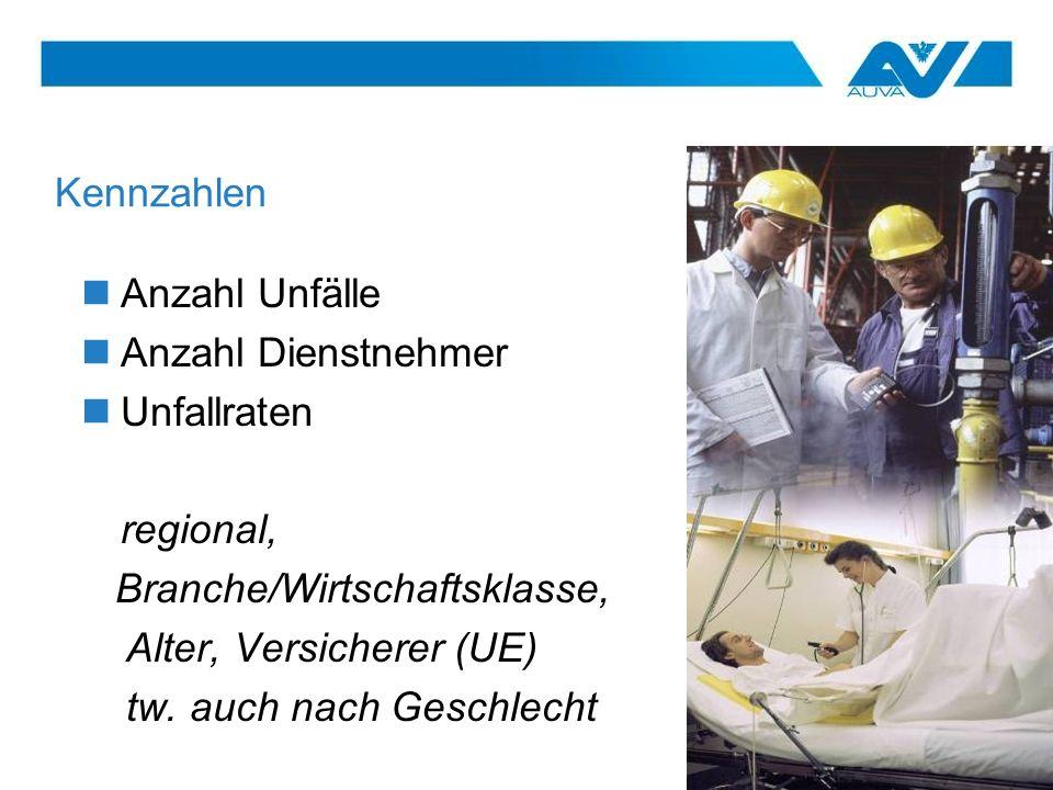 KennzahlenAnzahl Unfälle. Anzahl Dienstnehmer. Unfallraten. regional, Branche/Wirtschaftsklasse, Alter, Versicherer (UE)