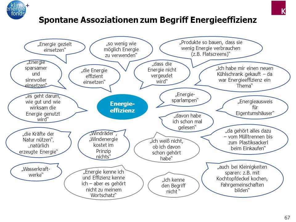 Spontane Assoziationen zum Begriff Energieeffizienz