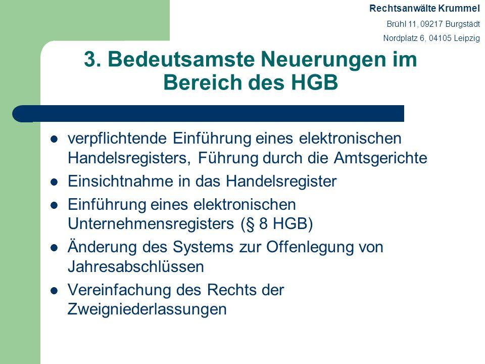 3. Bedeutsamste Neuerungen im Bereich des HGB