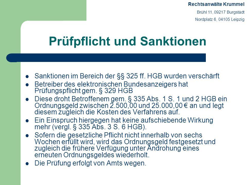 Prüfpflicht und Sanktionen