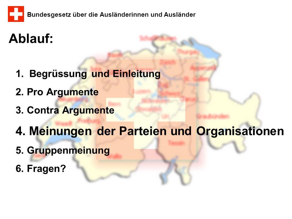 Ablauf: 4. Meinungen der Parteien und Organisationen