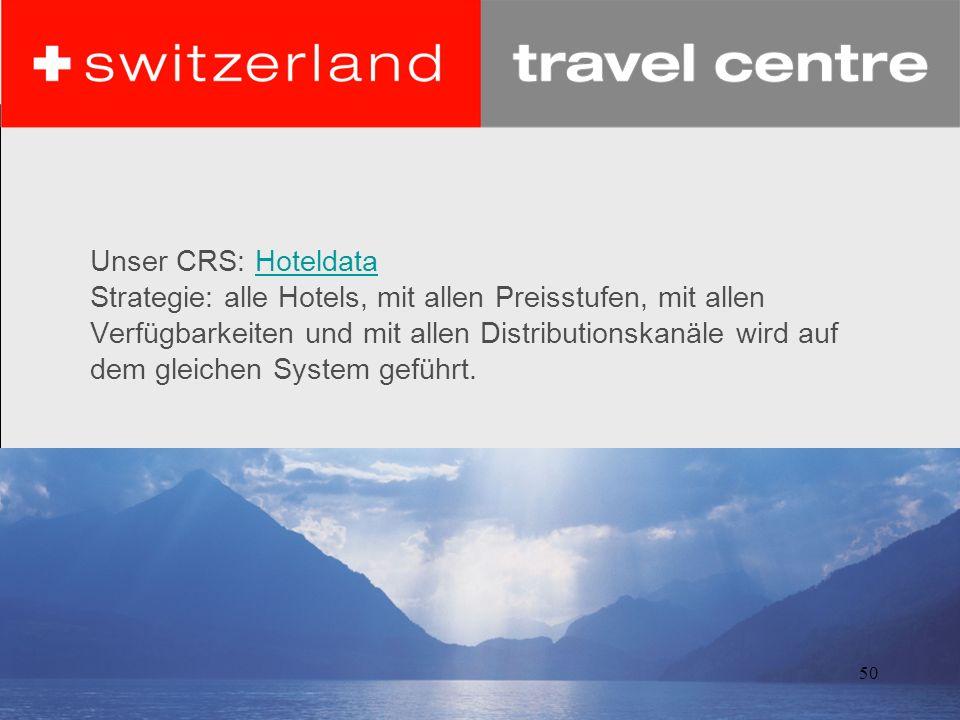 Unser CRS: Hoteldata Strategie: alle Hotels, mit allen Preisstufen, mit allen Verfügbarkeiten und mit allen Distributionskanäle wird auf dem gleichen System geführt.
