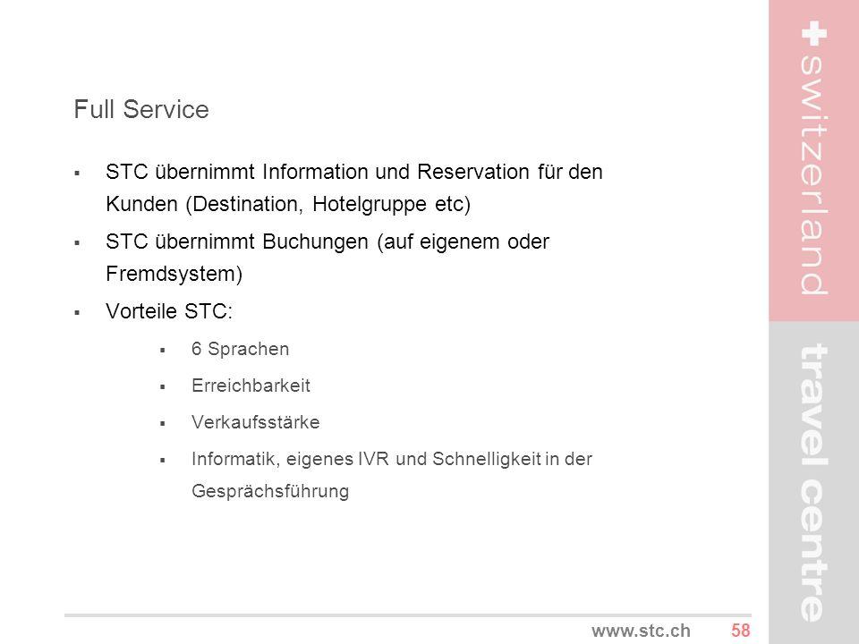 Full Service STC übernimmt Information und Reservation für den Kunden (Destination, Hotelgruppe etc)