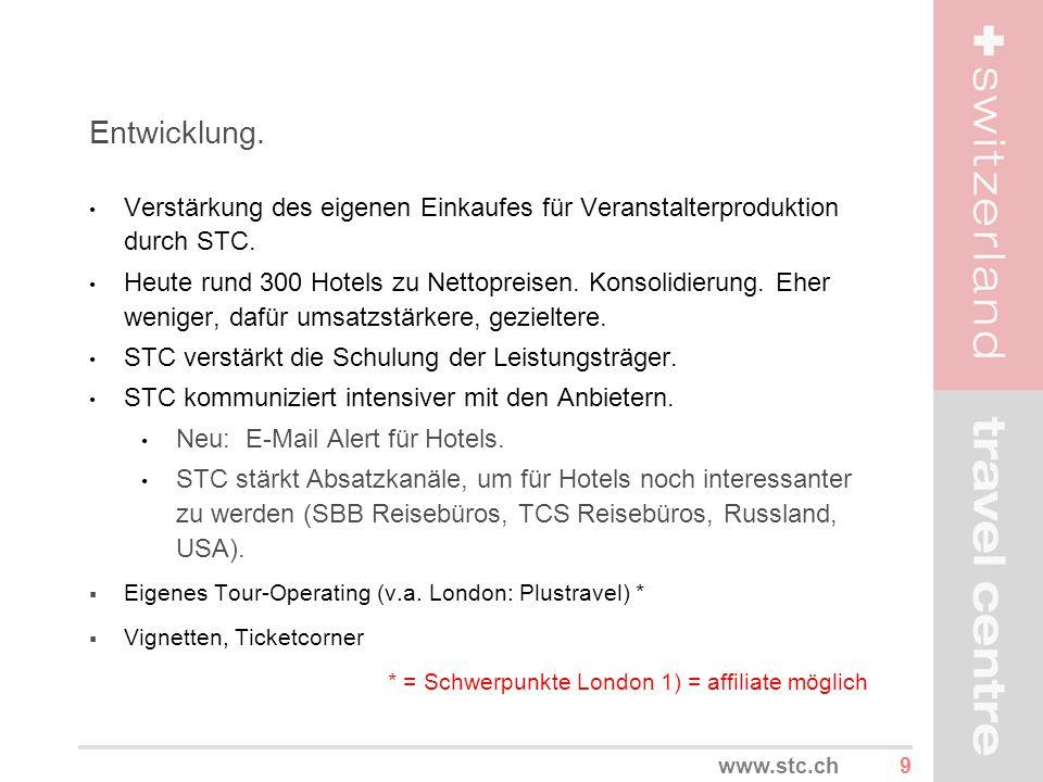 Entwicklung. Verstärkung des eigenen Einkaufes für Veranstalterproduktion durch STC.