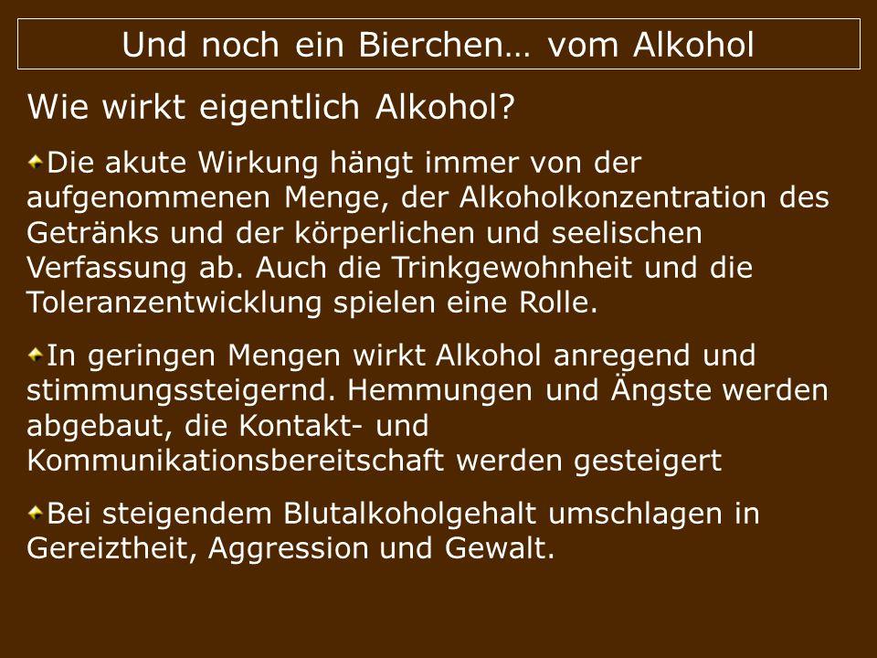 Und noch ein Bierchen… vom Alkohol