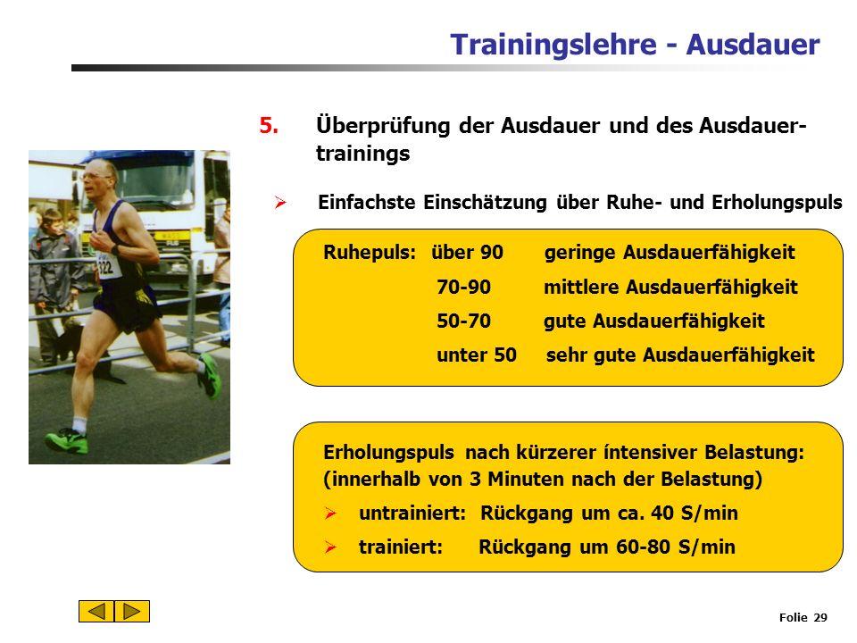 Überprüfung der Ausdauer und des Ausdauer- trainings
