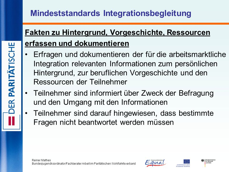Mindeststandards Integrationsbegleitung