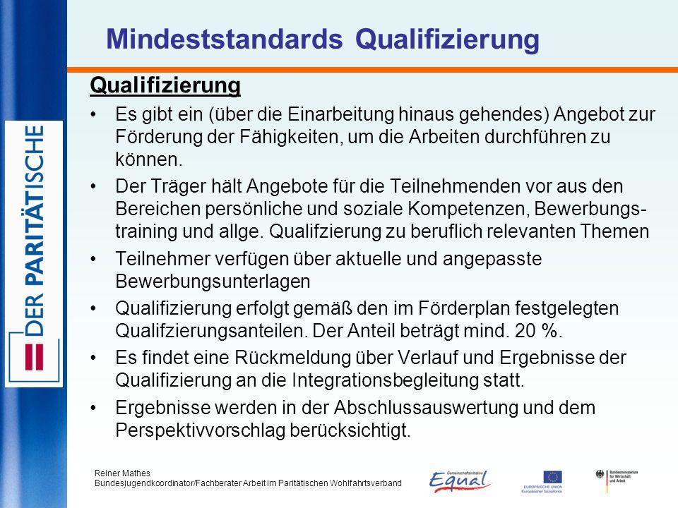 Mindeststandards Qualifizierung