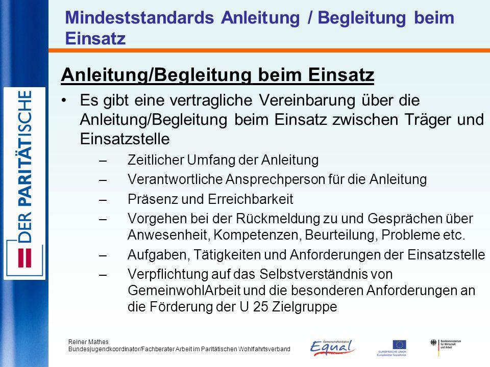 Mindeststandards Anleitung / Begleitung beim Einsatz
