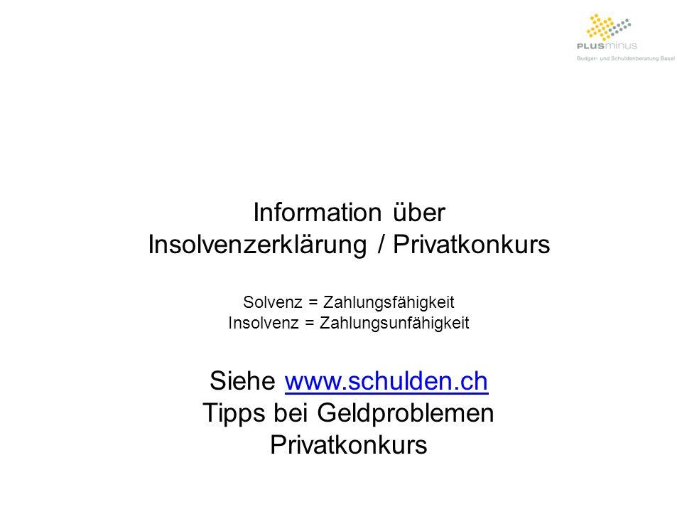Insolvenzerklärung / Privatkonkurs