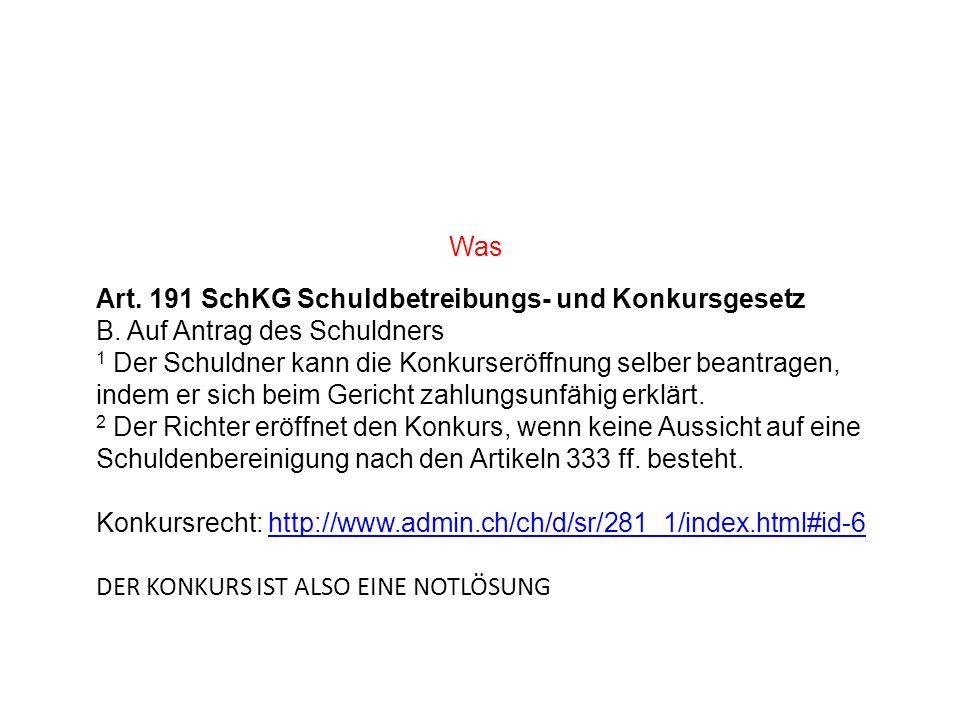 Was Art. 191 SchKG Schuldbetreibungs- und Konkursgesetz. B. Auf Antrag des Schuldners.