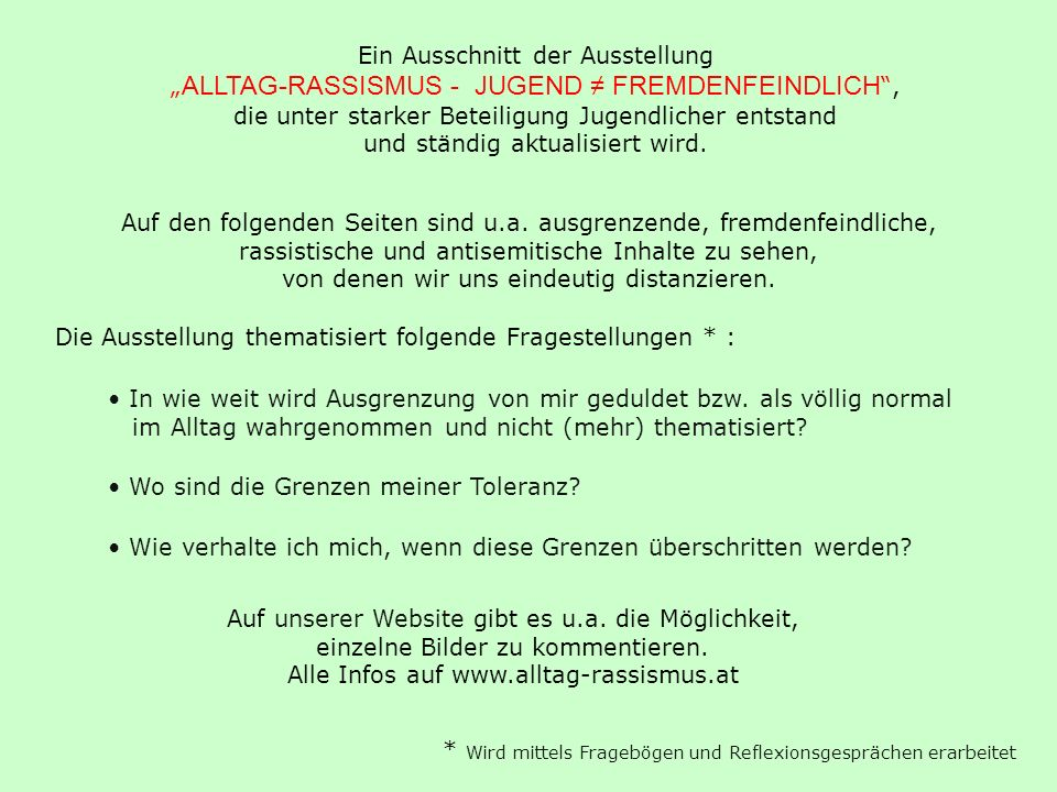 Alle Infos auf www.alltag-rassismus.at