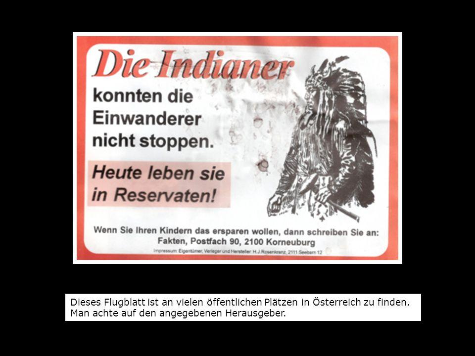 Dieses Flugblatt ist an vielen öffentlichen Plätzen in Österreich zu finden.