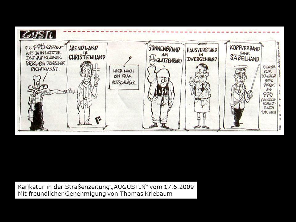 """Karikatur in der Straßenzeitung """"AUGUSTIN vom 17.6.2009"""