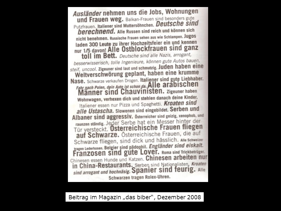 "Beitrag im Magazin ""das biber , Dezember 2008"
