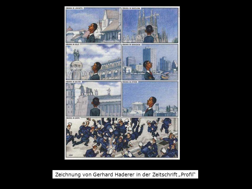 """Zeichnung von Gerhard Haderer in der Zeitschrift """"Profil"""