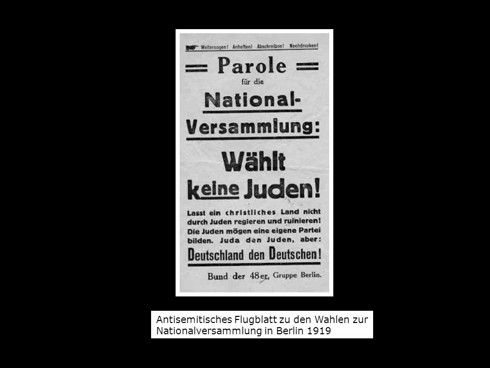 Antisemitisches Flugblatt zu den Wahlen zur