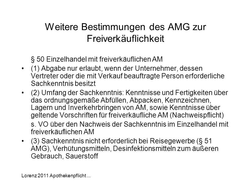 Weitere Bestimmungen des AMG zur Freiverkäuflichkeit