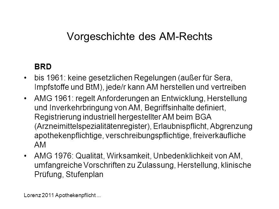 Vorgeschichte des AM-Rechts
