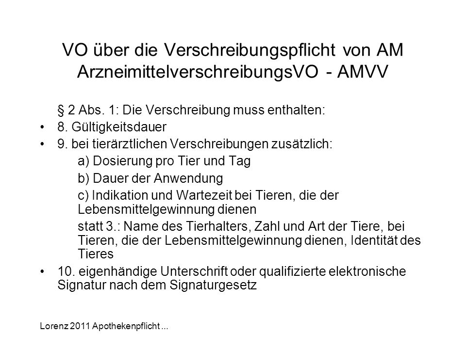 VO über die Verschreibungspflicht von AM ArzneimittelverschreibungsVO - AMVV