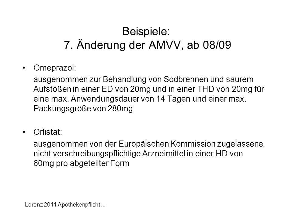 Beispiele: 7. Änderung der AMVV, ab 08/09