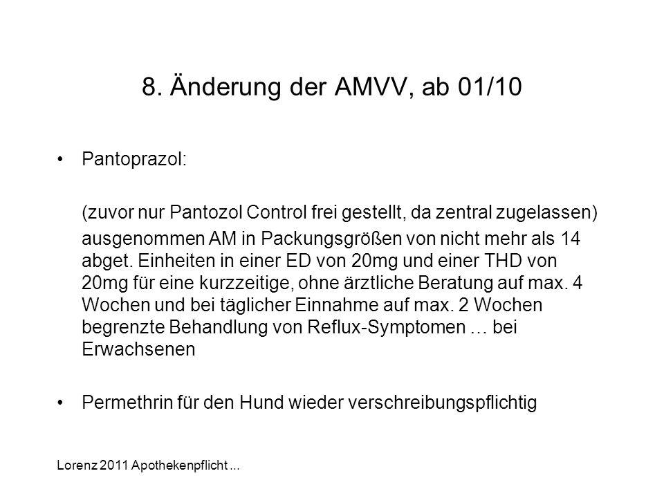 8. Änderung der AMVV, ab 01/10 Pantoprazol: