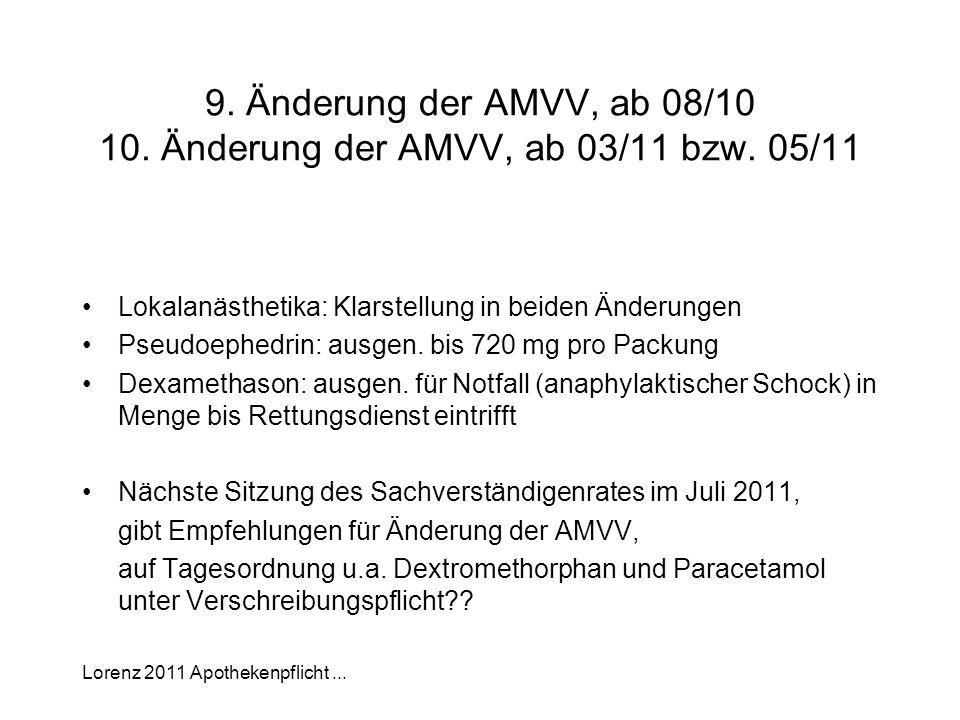 9. Änderung der AMVV, ab 08/10 10. Änderung der AMVV, ab 03/11 bzw