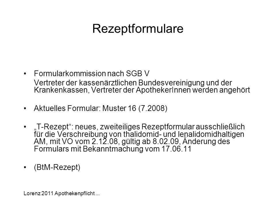 Rezeptformulare Formularkommission nach SGB V