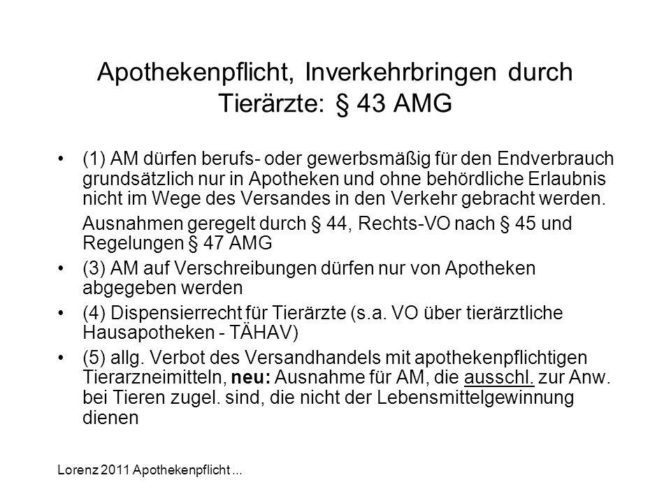 Apothekenpflicht, Inverkehrbringen durch Tierärzte: § 43 AMG