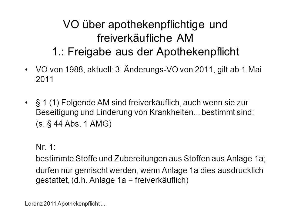 VO über apothekenpflichtige und freiverkäufliche AM 1