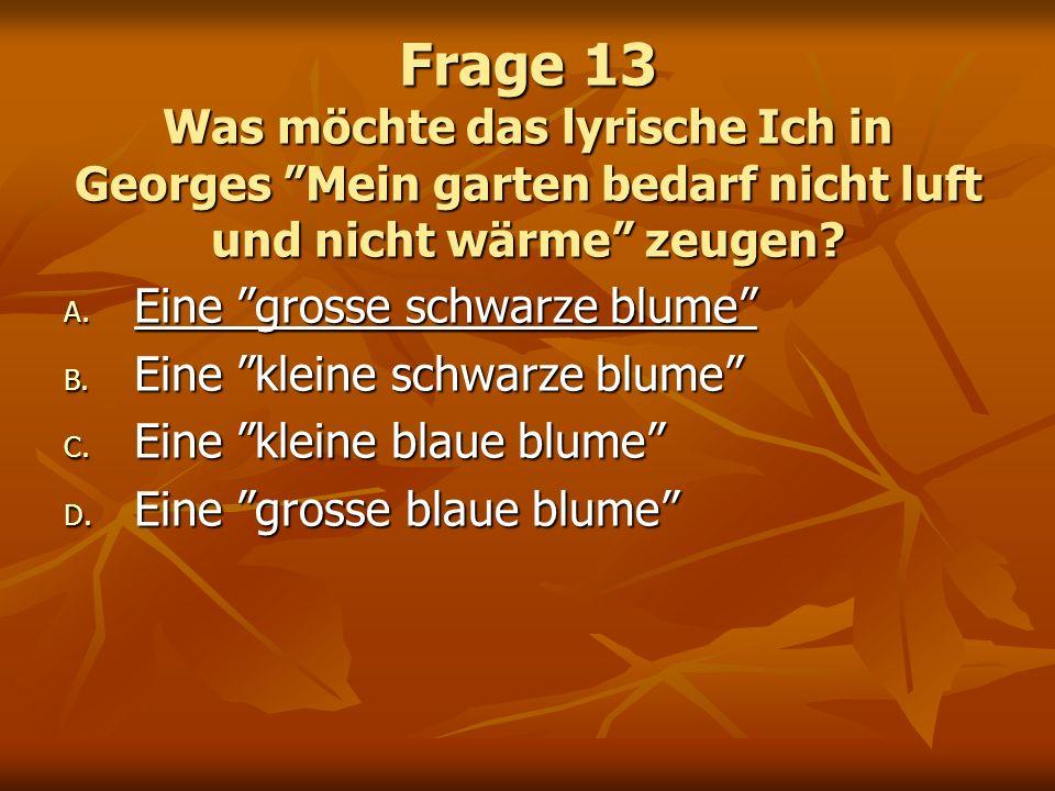 Frage 13 Was möchte das lyrische Ich in Georges Mein garten bedarf nicht luft und nicht wärme zeugen