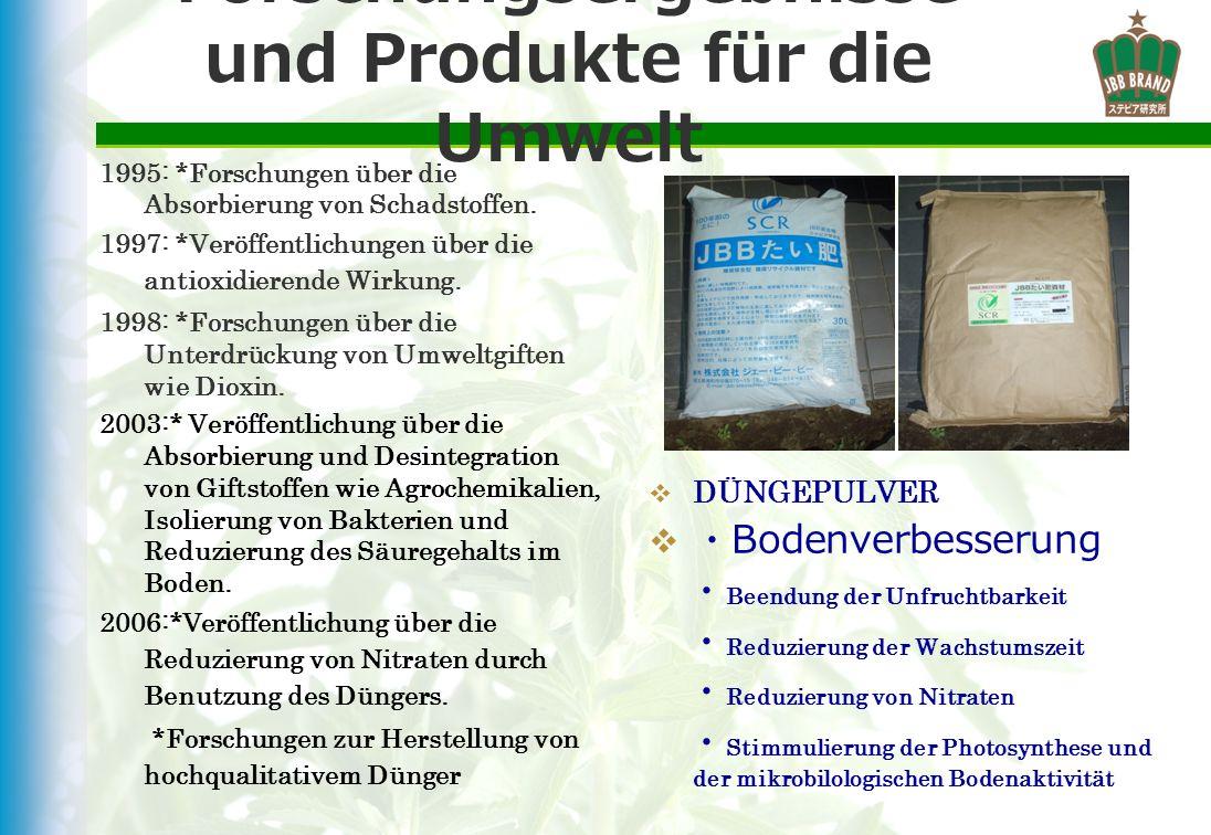 Forschungsergebnisse und Produkte für die Umwelt
