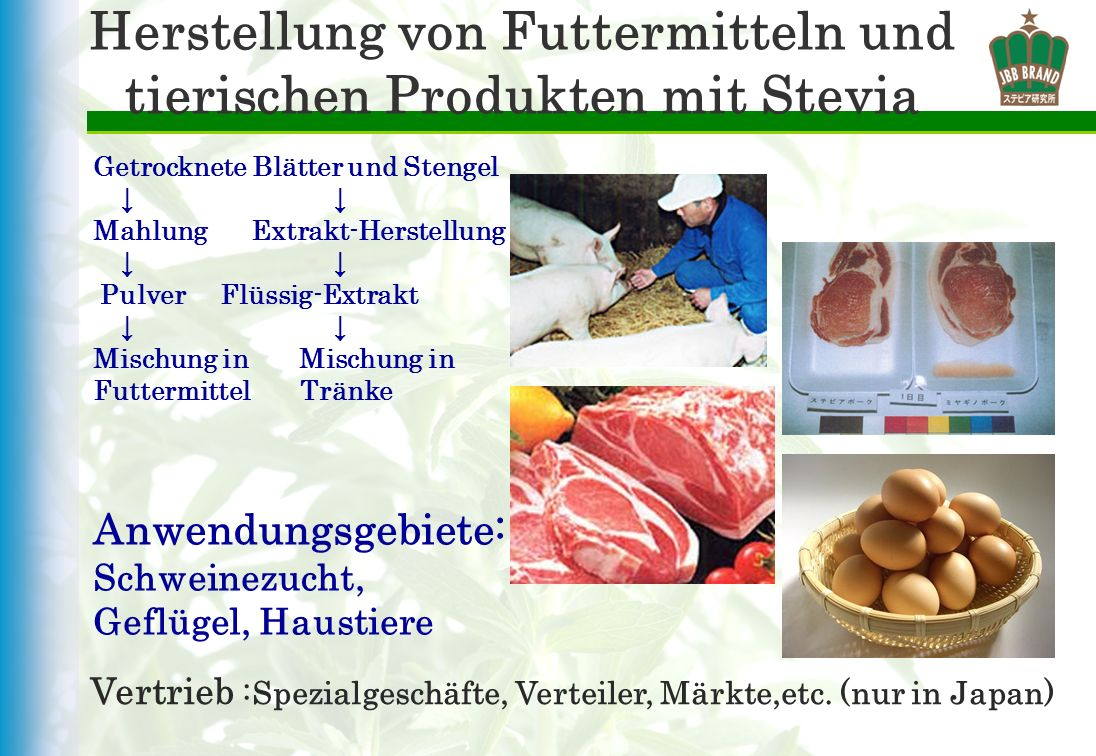 Herstellung von Futtermitteln und tierischen Produkten mit Stevia