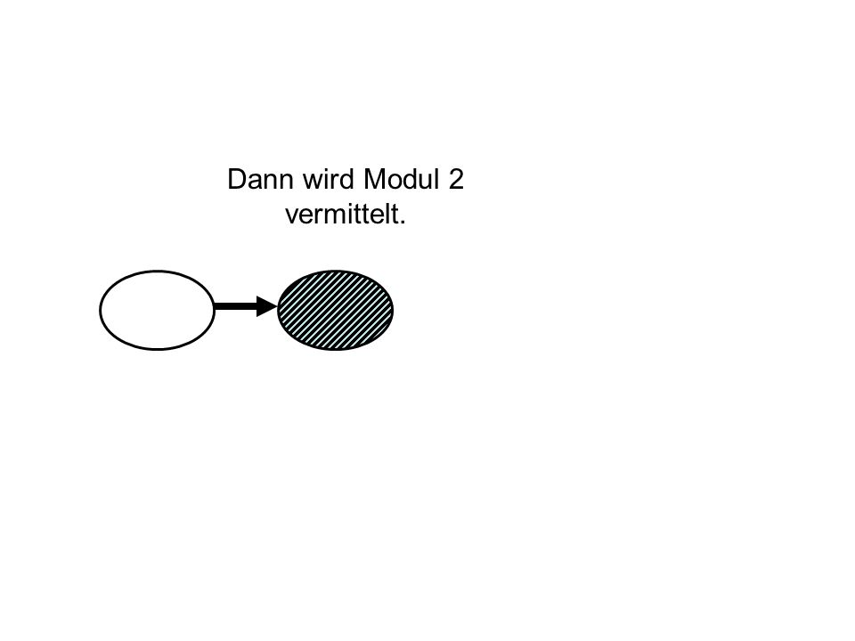 Dann wird Modul 2 vermittelt.