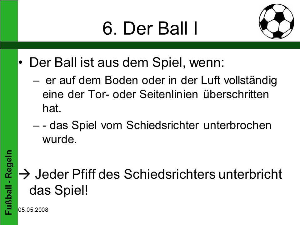 6. Der Ball I Der Ball ist aus dem Spiel, wenn: