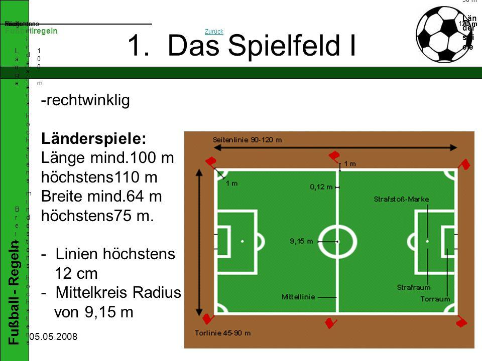 1. Das Spielfeld I rechtwinklig Länderspiele: Länge mind.100 m