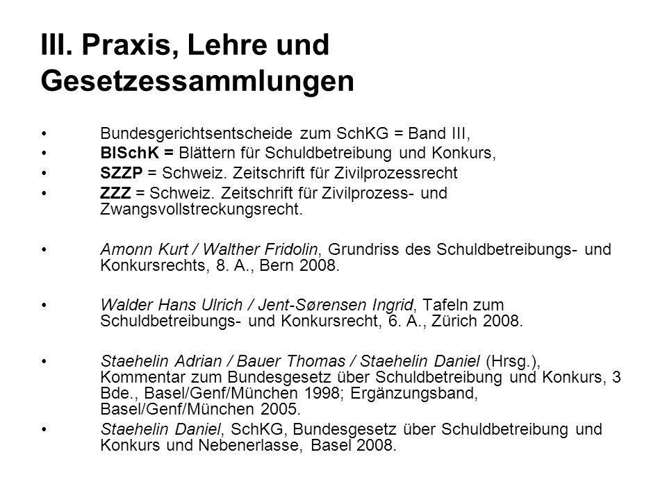 III. Praxis, Lehre und Gesetzessammlungen
