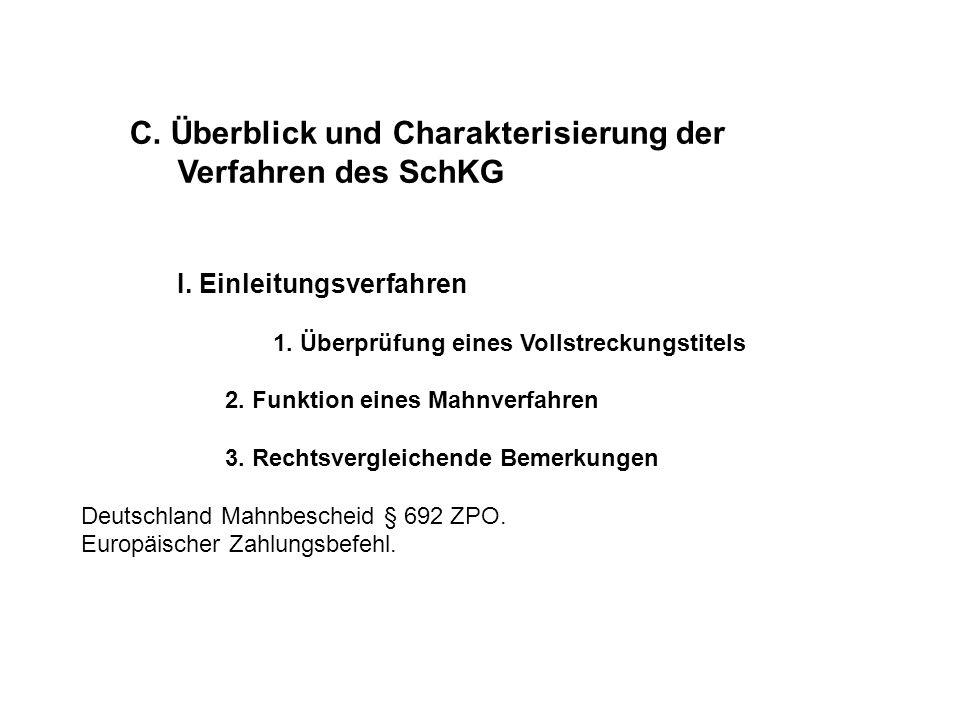 C. Überblick und Charakterisierung der Verfahren des SchKG