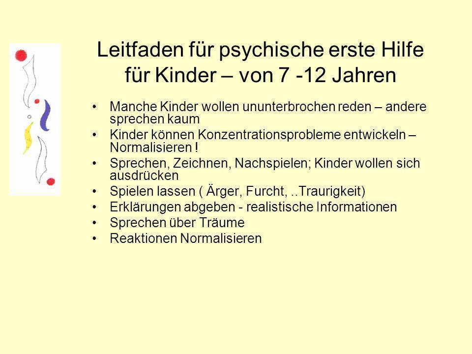 Leitfaden für psychische erste Hilfe für Kinder – von 7 -12 Jahren