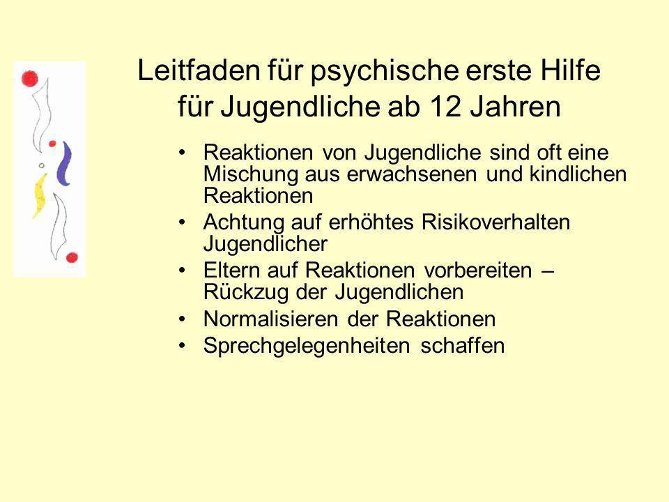 Leitfaden für psychische erste Hilfe für Jugendliche ab 12 Jahren
