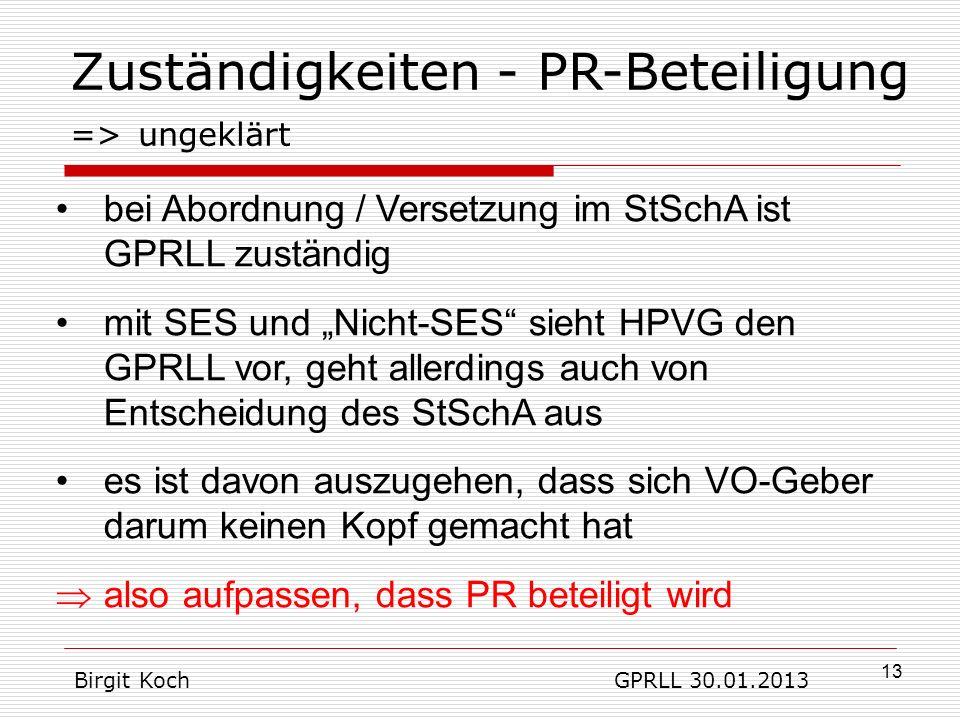 Zuständigkeiten - PR-Beteiligung => ungeklärt