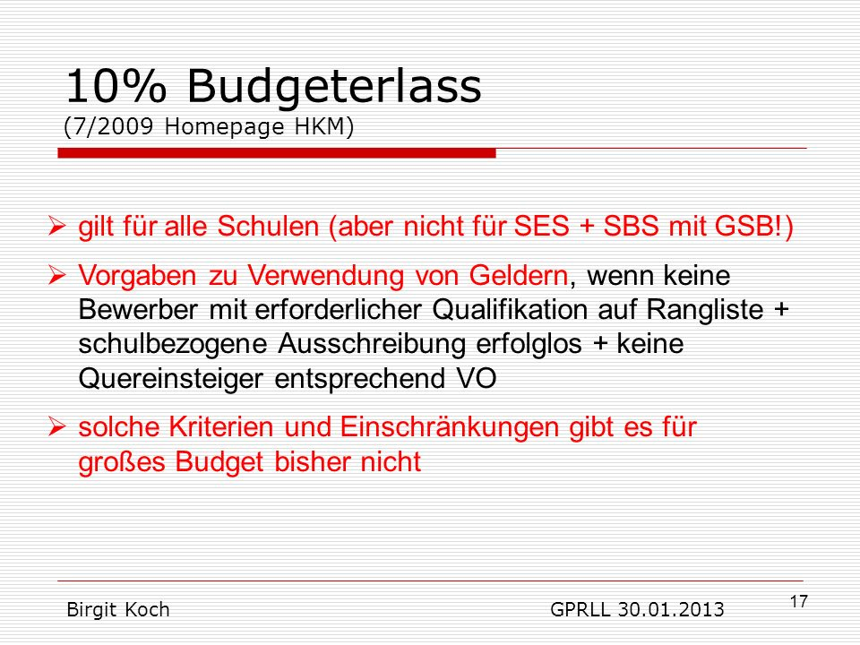 10% Budgeterlass (7/2009 Homepage HKM)
