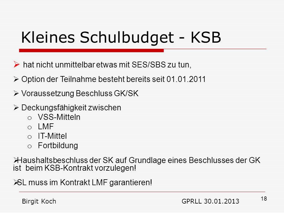 Kleines Schulbudget - KSB
