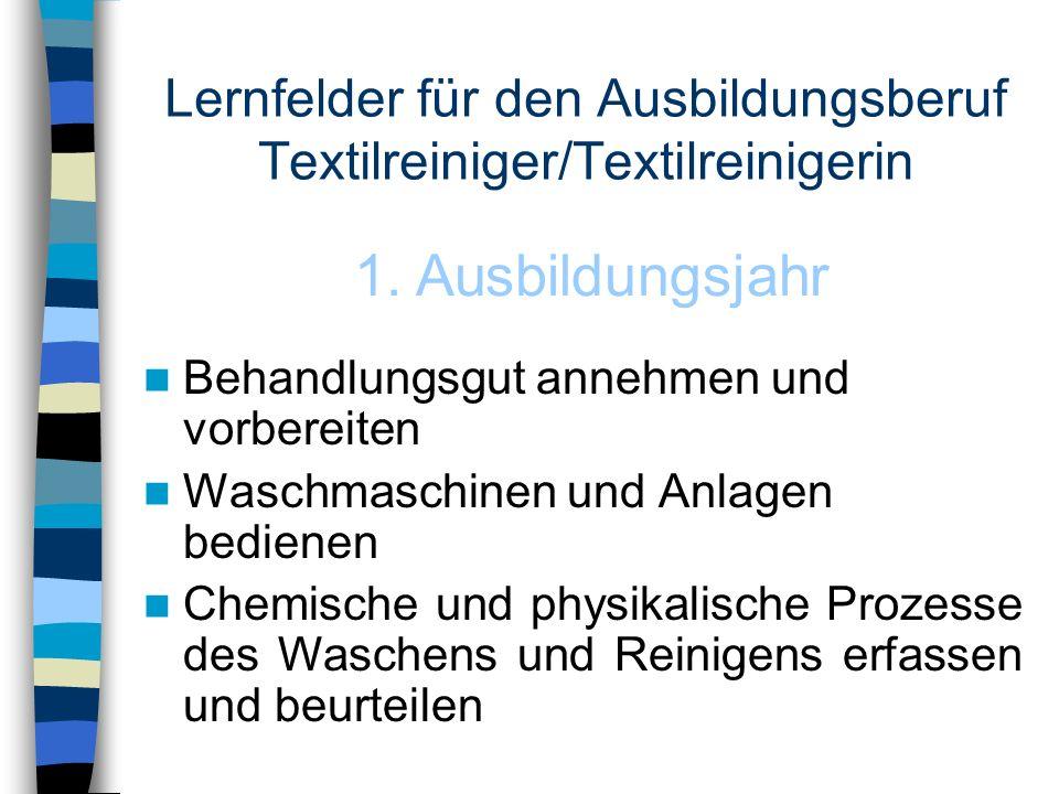 Lernfelder für den Ausbildungsberuf Textilreiniger/Textilreinigerin