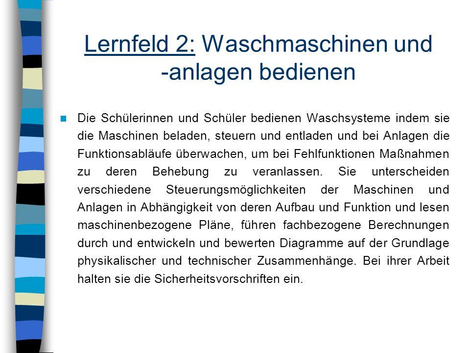 Lernfeld 2: Waschmaschinen und -anlagen bedienen